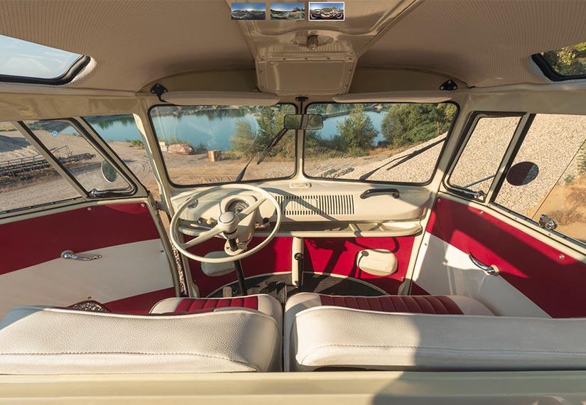 Interior-Foto eines VW T1 Samba Bulli 1975